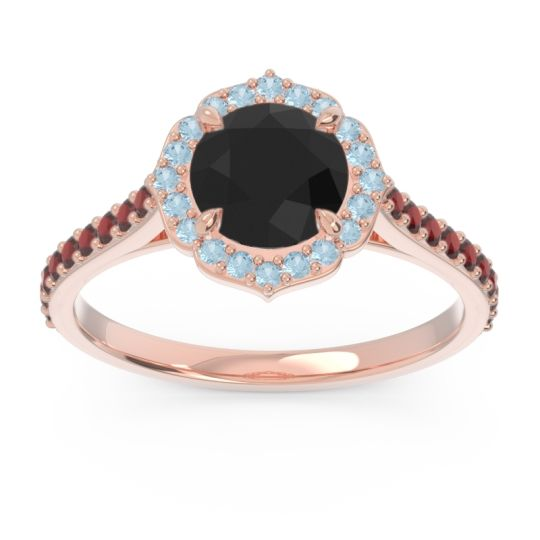 Black Onyx Halo Pave Pulla Ring with Aquamarine and Garnet in 18K Rose Gold