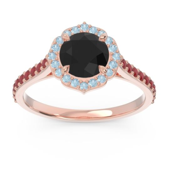 Black Onyx Halo Pave Pulla Ring with Aquamarine and Ruby in 18K Rose Gold