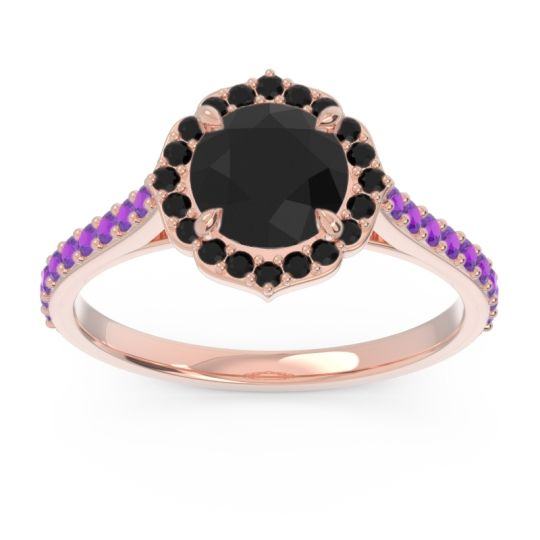 Black Onyx Halo Pave Pulla Ring with Amethyst in 18K Rose Gold
