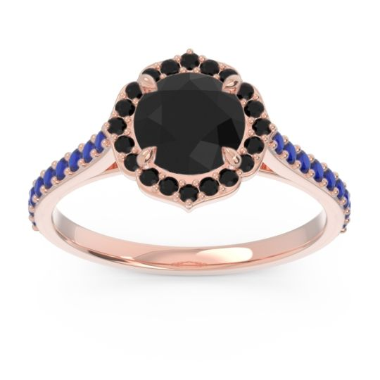 Black Onyx Halo Pave Pulla Ring with Blue Sapphire in 18K Rose Gold