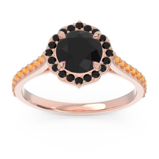 Black Onyx Halo Pave Pulla Ring with Citrine in 18K Rose Gold