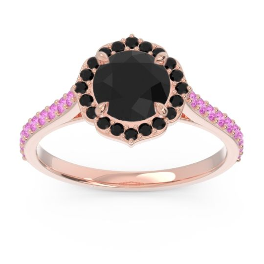 Black Onyx Halo Pave Pulla Ring with Pink Tourmaline in 14K Rose Gold