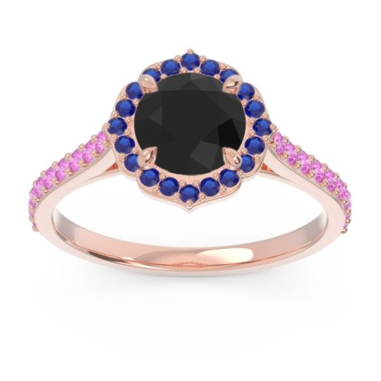 Black Onyx Halo Pave Pulla Ring with Blue Sapphire and Pink Tourmaline in 18K Rose Gold