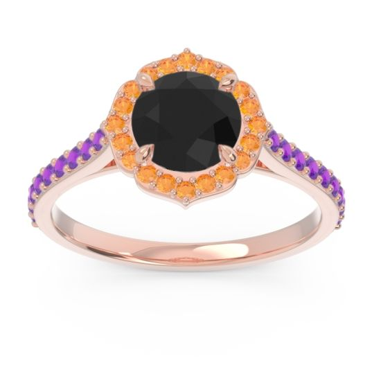 Black Onyx Halo Pave Pulla Ring with Citrine and Amethyst in 18K Rose Gold