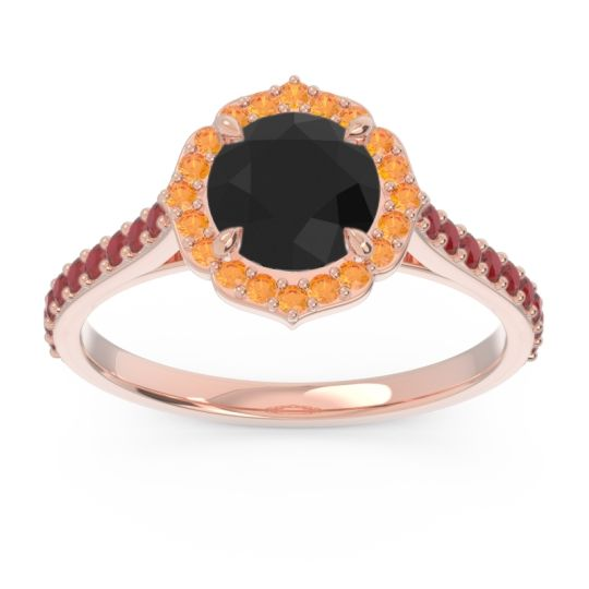 Black Onyx Halo Pave Pulla Ring with Citrine and Ruby in 18K Rose Gold