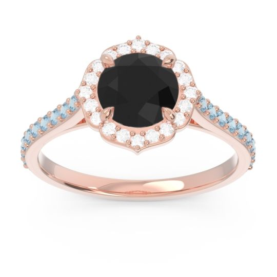 Black Onyx Halo Pave Pulla Ring with Diamond and Aquamarine in 18K Rose Gold