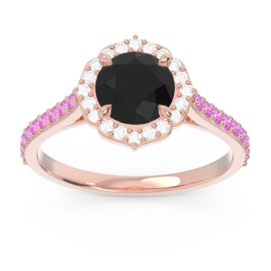 Black Onyx Halo Pave Pulla Ring with Diamond and Pink Tourmaline in 18K Rose Gold
