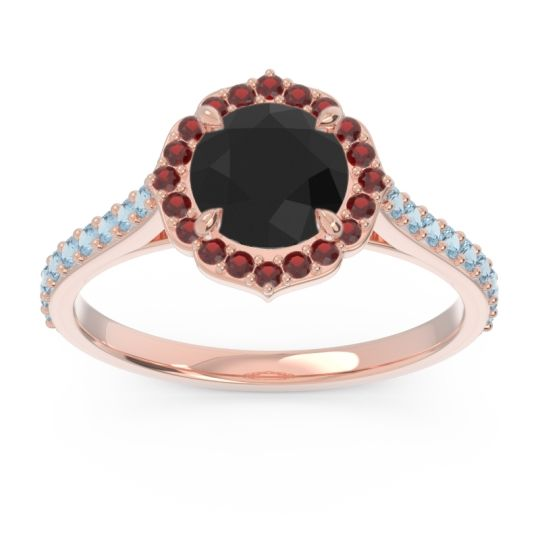Black Onyx Halo Pave Pulla Ring with Garnet and Aquamarine in 18K Rose Gold