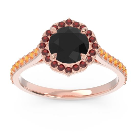 Black Onyx Halo Pave Pulla Ring with Garnet and Citrine in 14K Rose Gold