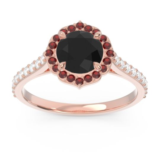 Black Onyx Halo Pave Pulla Ring with Garnet and Diamond in 14K Rose Gold