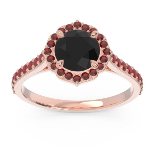 Black Onyx Halo Pave Pulla Ring with Garnet and Ruby in 14K Rose Gold