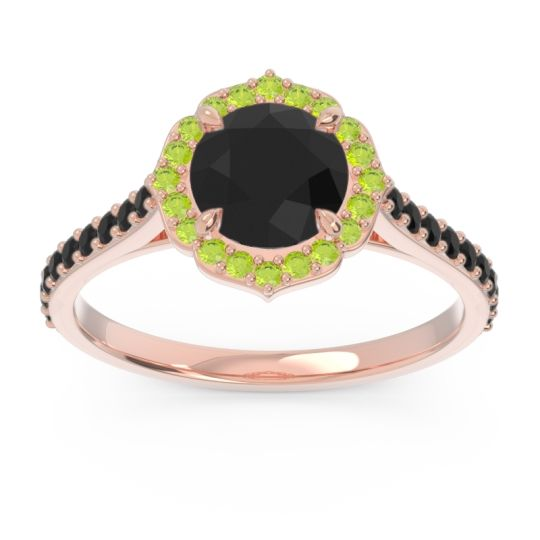 Black Onyx Halo Pave Pulla Ring with Peridot in 14K Rose Gold