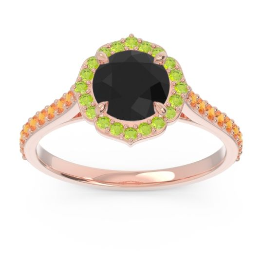 Black Onyx Halo Pave Pulla Ring with Peridot and Citrine in 18K Rose Gold