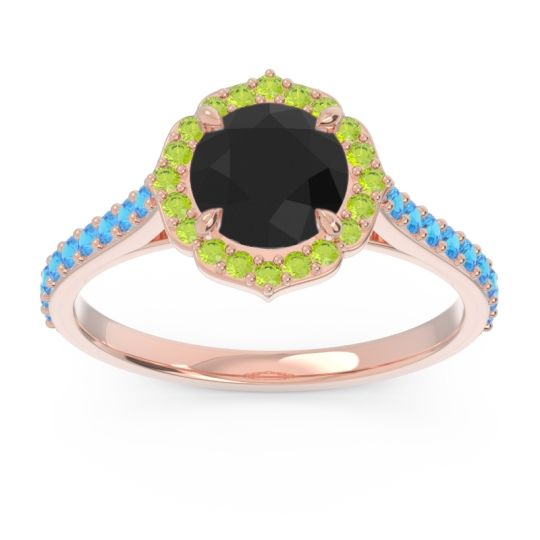 Black Onyx Halo Pave Pulla Ring with Peridot and Swiss Blue Topaz in 14K Rose Gold