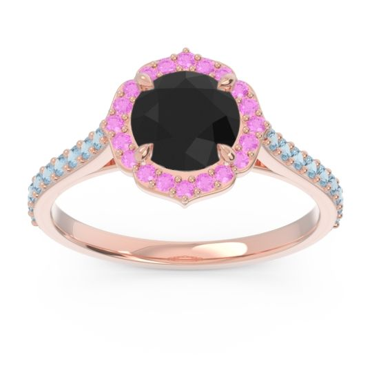 Black Onyx Halo Pave Pulla Ring with Pink Tourmaline and Aquamarine in 18K Rose Gold