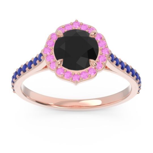 Black Onyx Halo Pave Pulla Ring with Pink Tourmaline and Blue Sapphire in 18K Rose Gold