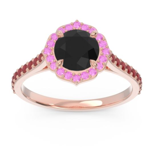 Black Onyx Halo Pave Pulla Ring with Pink Tourmaline and Ruby in 18K Rose Gold