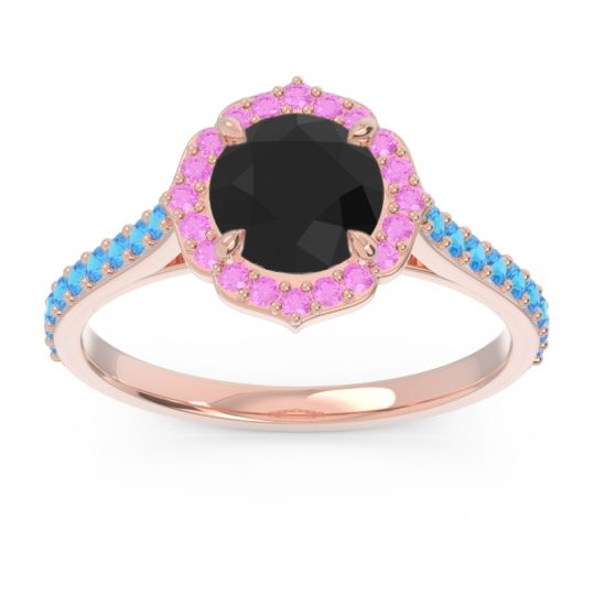 Black Onyx Halo Pave Pulla Ring with Pink Tourmaline and Swiss Blue Topaz in 18K Rose Gold