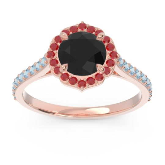 Black Onyx Halo Pave Pulla Ring with Ruby and Aquamarine in 18K Rose Gold