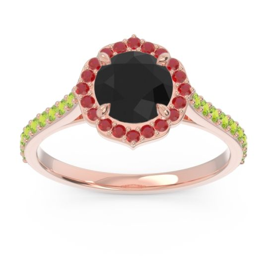 Black Onyx Halo Pave Pulla Ring with Ruby and Peridot in 18K Rose Gold