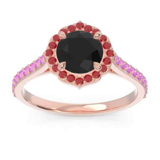 Black Onyx Halo Pave Pulla Ring with Ruby and Pink Tourmaline in 14K Rose Gold