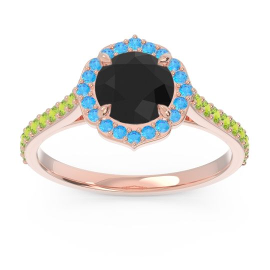 Black Onyx Halo Pave Pulla Ring with Swiss Blue Topaz and Peridot in 18K Rose Gold