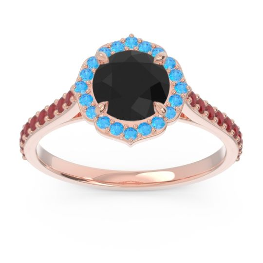 Black Onyx Halo Pave Pulla Ring with Swiss Blue Topaz and Ruby in 14K Rose Gold