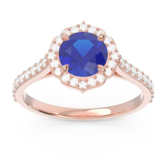 Blue Sapphire Halo Pave Pulla Ring with Diamond in 14K Rose Gold