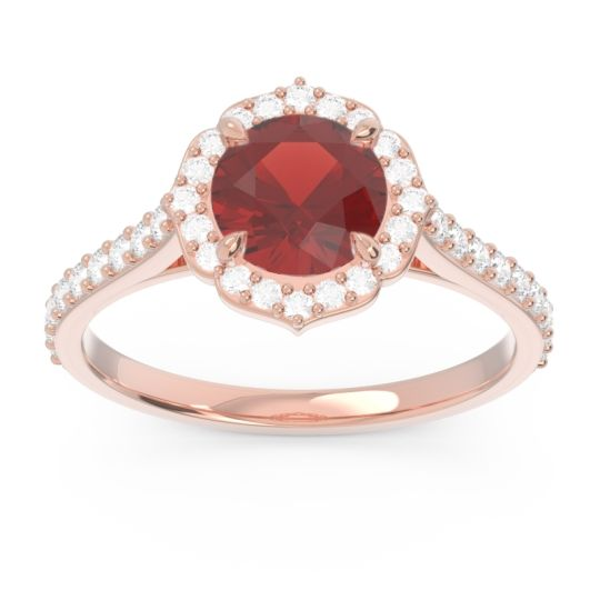 Garnet Halo Pave Pulla Ring with Diamond in 14K Rose Gold