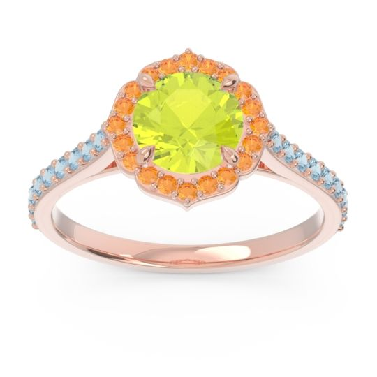 Peridot Halo Pave Pulla Ring with Citrine and Aquamarine in 14K Rose Gold