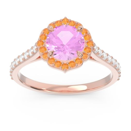 Pink Tourmaline Halo Pave Pulla Ring with Citrine and Diamond in 14K Rose Gold