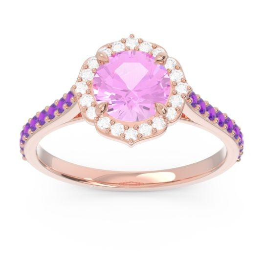 Pink Tourmaline Halo Pave Pulla Ring with Diamond and Amethyst in 14K Rose Gold
