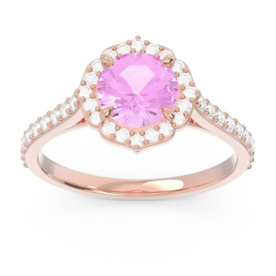 Pink Tourmaline Halo Pave Pulla Ring with Diamond in 14K Rose Gold