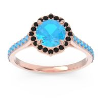 Swiss Blue Topaz Halo Pave Pulla Ring with Black Onyx in 18K Rose Gold