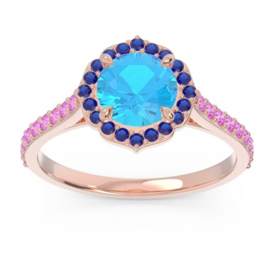Swiss Blue Topaz Halo Pave Pulla Ring with Blue Sapphire and Pink Tourmaline in 14K Rose Gold