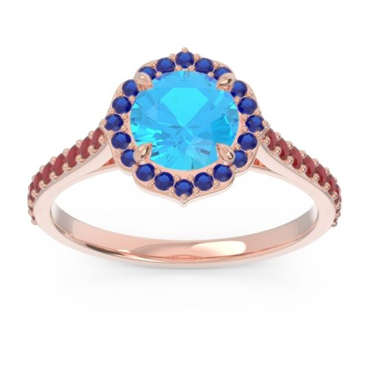 Swiss Blue Topaz Halo Pave Pulla Ring with Blue Sapphire and Ruby in 14K Rose Gold
