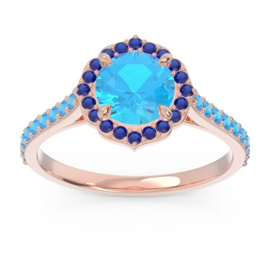 Swiss Blue Topaz Halo Pave Pulla Ring with Blue Sapphire in 18K Rose Gold