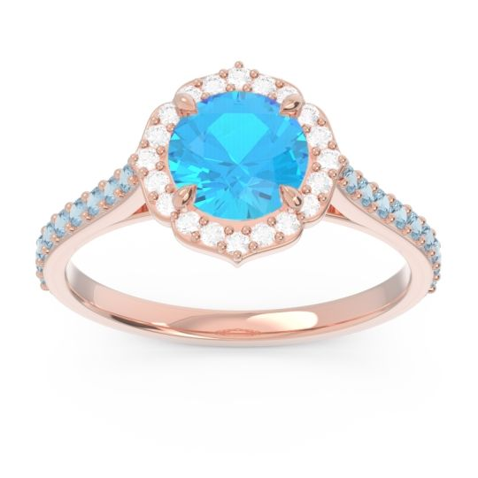 Swiss Blue Topaz Halo Pave Pulla Ring with Diamond and Aquamarine in 18K Rose Gold