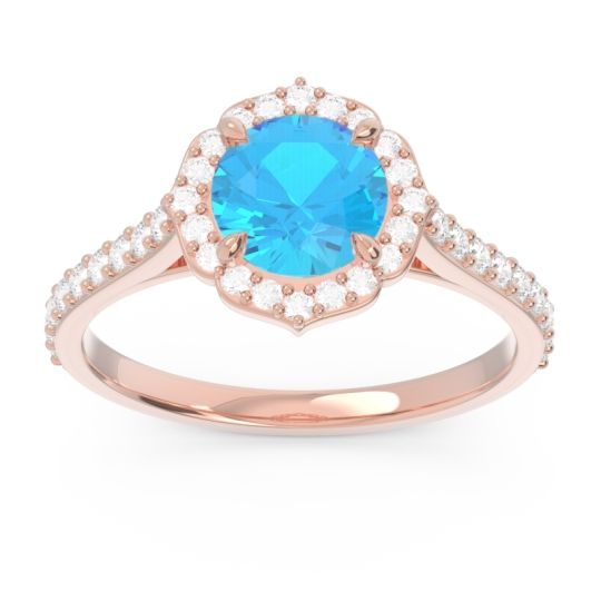 Halo Pave Pulla Swiss Blue Topaz Ring with Diamond in 14K Rose Gold
