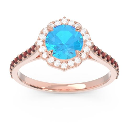 Swiss Blue Topaz Halo Pave Pulla Ring with Diamond and Garnet in 14K Rose Gold