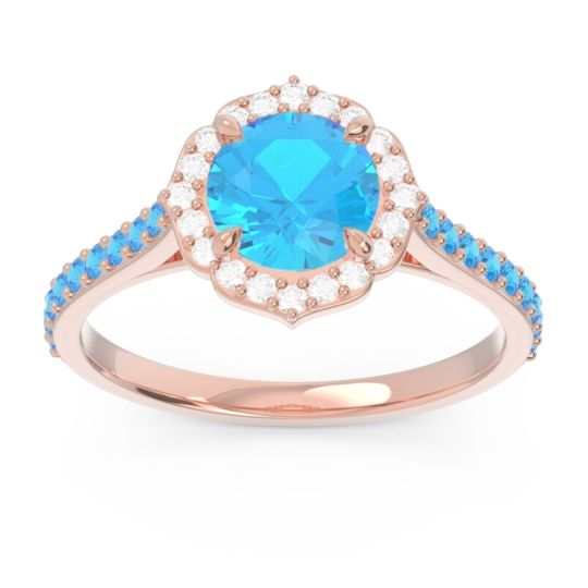 Swiss Blue Topaz Halo Pave Pulla Ring with Diamond in 14K Rose Gold