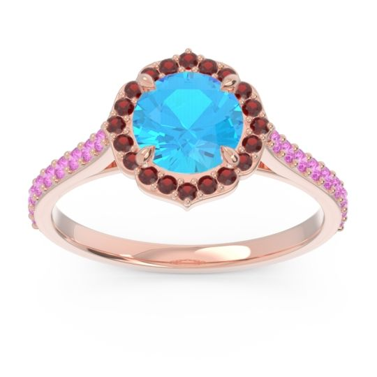 Swiss Blue Topaz Halo Pave Pulla Ring with Garnet and Pink Tourmaline in 14K Rose Gold