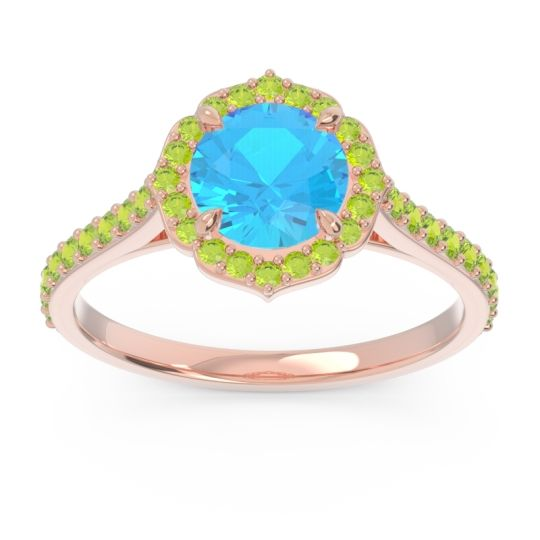 Swiss Blue Topaz Halo Pave Pulla Ring with Peridot in 18K Rose Gold