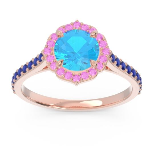 Swiss Blue Topaz Halo Pave Pulla Ring with Pink Tourmaline and Blue Sapphire in 18K Rose Gold