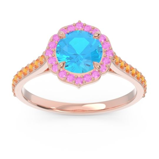 Swiss Blue Topaz Halo Pave Pulla Ring with Pink Tourmaline and Citrine in 14K Rose Gold