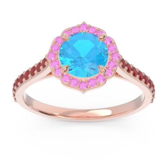 Swiss Blue Topaz Halo Pave Pulla Ring with Pink Tourmaline and Ruby in 14K Rose Gold