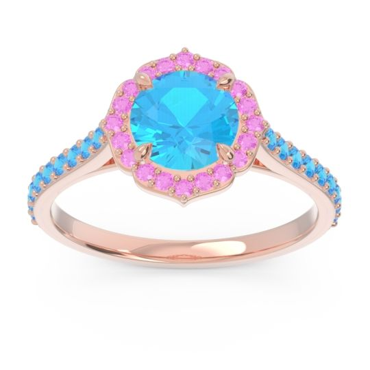Swiss Blue Topaz Halo Pave Pulla Ring with Pink Tourmaline in 14K Rose Gold