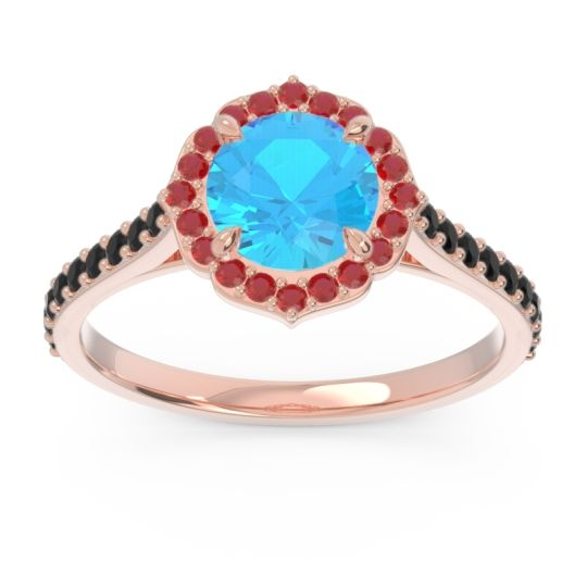 Swiss Blue Topaz Halo Pave Pulla Ring with Ruby and Black Onyx in 14K Rose Gold