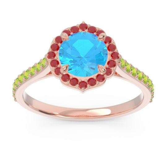 Swiss Blue Topaz Halo Pave Pulla Ring with Ruby and Peridot in 14K Rose Gold