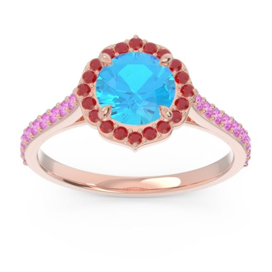 Swiss Blue Topaz Halo Pave Pulla Ring with Ruby and Pink Tourmaline in 14K Rose Gold